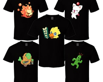 Final Fantasy Mascots - Choose a Character - Black T-Shirt