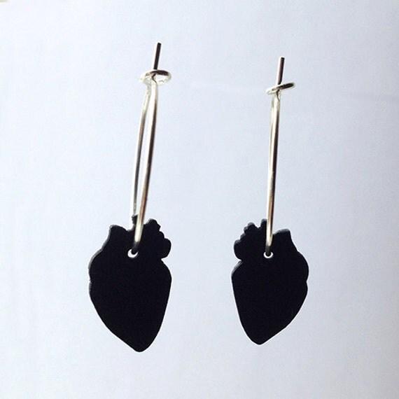 Black leather heart earrings