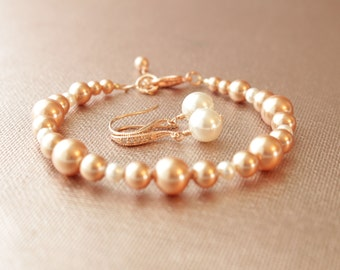Rose Gold Swarovski Pearl Earrings and Bracelet Set-Wedding Jewelry Gift, Bride, Bridal Party Gift Set, Bridesmaids Rose Gold, Bride's Gift