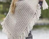 knit shawl, fringe shawl, choose your color, wool wrap, boho style shawl MADE TO ORDER