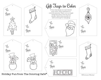 The Coloring Cafe-Coloring Gift Tags  Instant Download