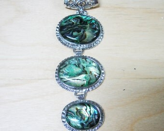 Abalone Drop Pendant - 3 Stone Drop
