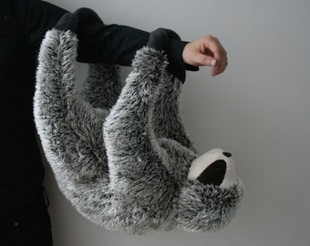 Philip Sloth, big plush, black and white dark, with magnetic paws, made to order
