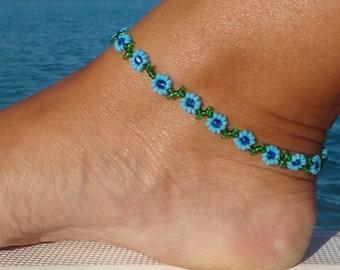 Ankle bracelet, Turquoise Daisy Anklet - Blue Flower Ankle Bracelet - Beaded Jewelry