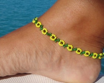 Anklet, ankle bracelet, Sunflower Daisy Anklet - Yellow Flower Ankle Bracelet - Beaded Jewelry
