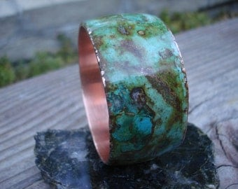 Marbled Roystone Copper Bangle. Turquise and Marble inlaid with Iron Rust and Copper.