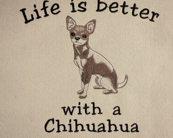 Chihuahua Pillow, Embroidered Chihuahua