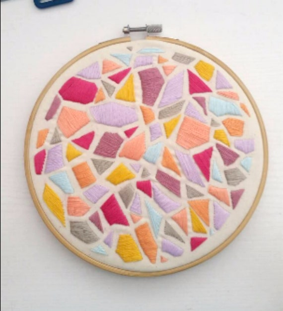Pink, Purple, Orange, Gray, Pastel Stained Glass Geometric Embroidery, Hoop Art, Embroidery Art, Hand-Stitched Embroidery, Abstract 7in Hoop