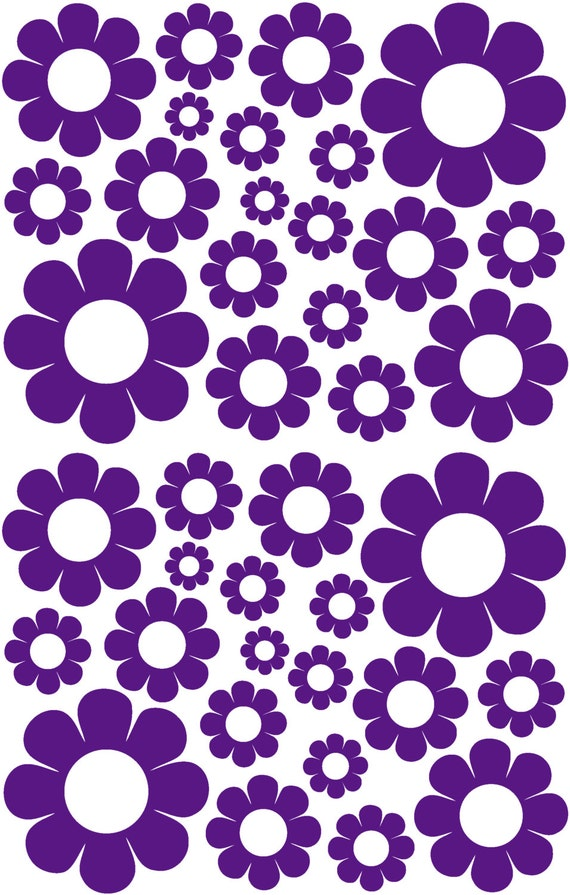 38 Dark Purple Daisy Vinyl Shaped Bedroom Wall Decals Stickers Daisies Kids Baby Nursery Dorm Room Removable Custom Made Easy to Install