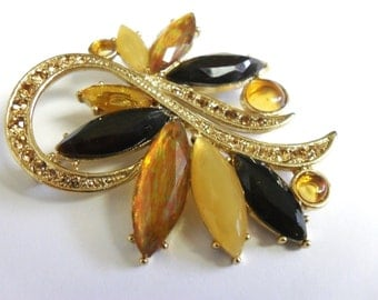 Vintage Abstract Swirl Rhinestone Brooch Whimsical Autum Colors Scarf Pin Bag Adornment Accessory