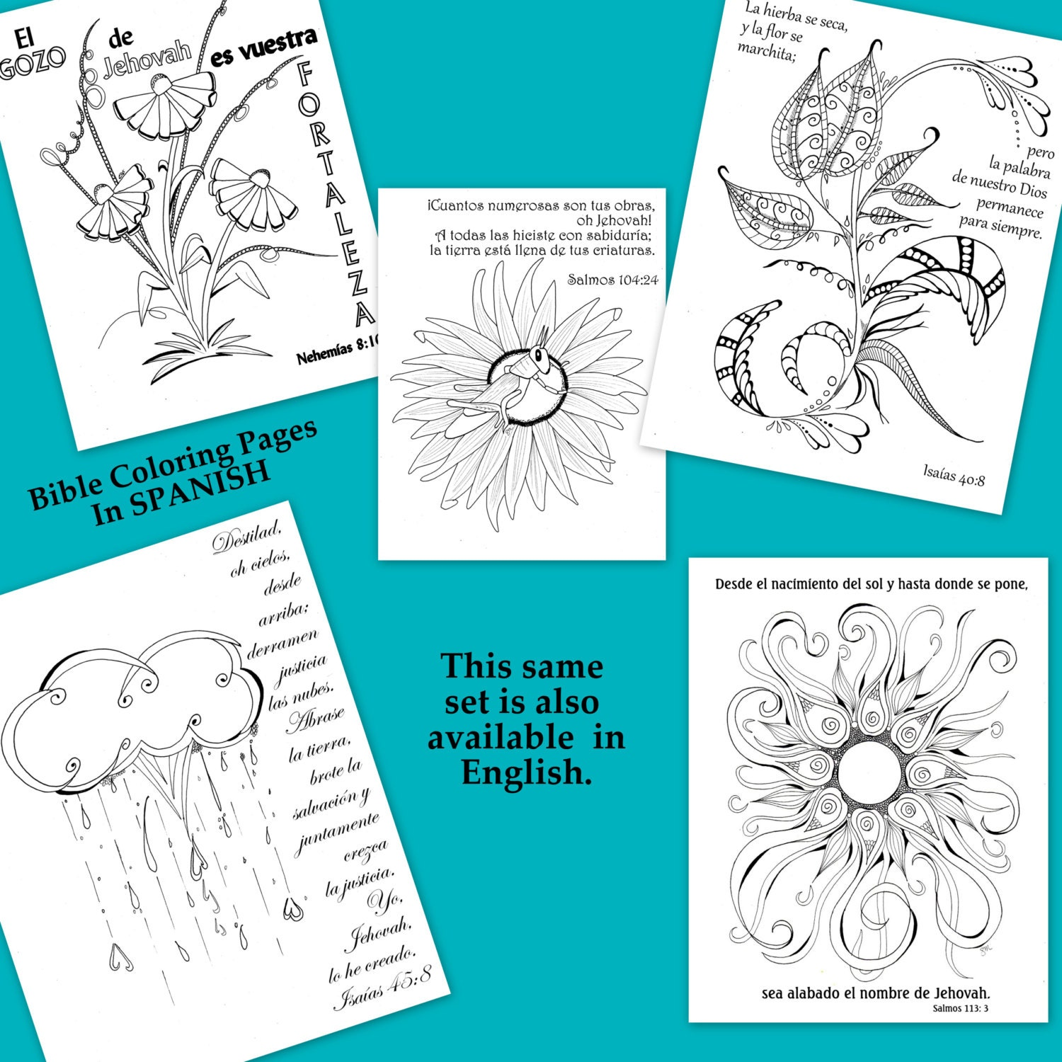 spanish bible journaling coloring pages 5 pages set 2s
