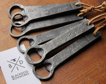 Personalized hand forged bottle opener