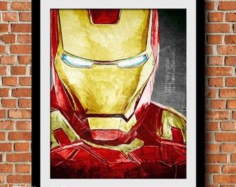 Iron Man Comic Ink Digital Painting Print, Marvel Superheroes