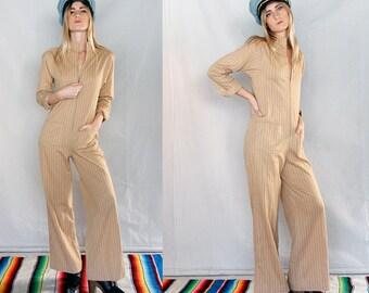 Vintage 70's Striped Minimalist Zip Front Jumpsuit Sz XS
