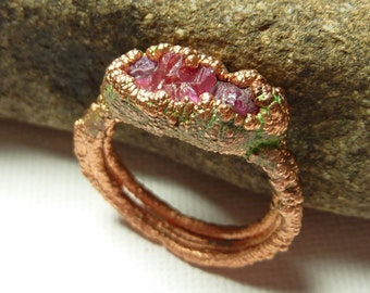 Raw ruby ring- electroformed- raw stone ring- copper ring- the unearthed collection