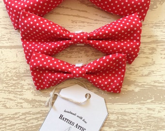 Handmade red spotty dog bow ties in small, medium and large - Pampered Pooch Collection