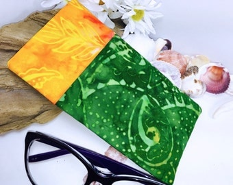 SUMMERTIME Glasses Case, Batik Sunglasses Case, Green Eyeglass Case, Glasses Pouch, Slip Style