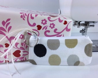 Mod Lipstick Case, Essential Oil Case, Vape Juice Bag, Small Zippered Pouch, Lip Balm Case, Coin Pouch, Taupe, Gold Dots