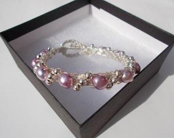 Lilac pearl wire bracelet , bridal jewelry , wire wrapped jewelry , wire jewelry , pearl jewelry , bridesmaids bracelet , gemstone jewelry