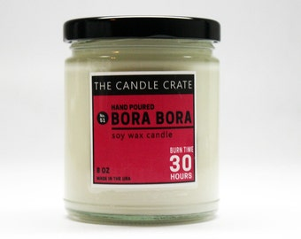 Bora Bora 8 ounce soy wax candle eco friendly hand poured