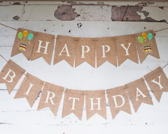 Happy Birthday Banner, Balloon Happy Birthday Garland, Celebration Birthday Bunting, B351