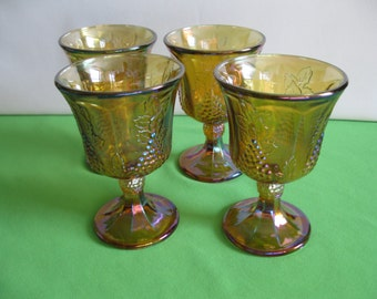 Pedestal Water Goblets or Tumblers Indiana Carnival Glass Harvest Grape Irridescent Gold or Amber Four USA Vintage