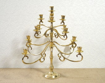 Large Brass Candelabra- Polished Mid Century Candle Holder for 17 Candles with Adjustable Arms, Regency Dining Room Decor