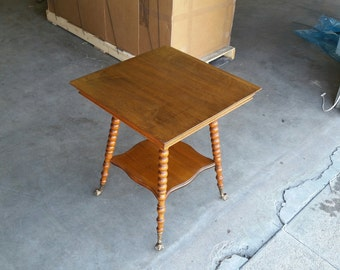 Antique Maple & Quarter Sawn Oak Parlor Table Stand Beautiful Legs Northwind Face Glass Ball Feet Vintage