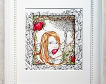 "Eve Illustration, Adam and Eve, Garden of Eden, Forbidden Fruit, Detailed Illustration, Ink Drawing, Matted Giclee Print, for 8""X10"" frame"