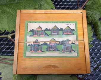 Childs wooden box of bricks .Complete. Repaired cover..German 1930s