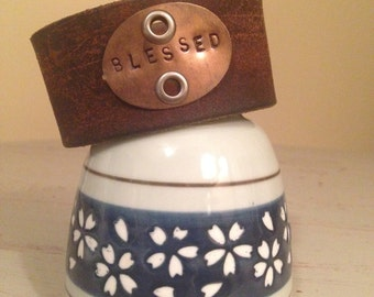 Blessed handstamped leather cuff
