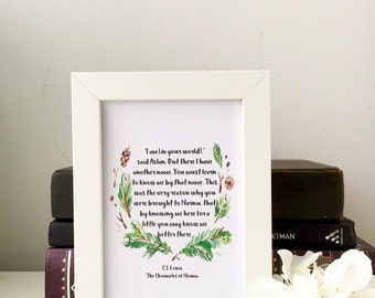 Narnia art, I Am said Aslan, CS Lewis, in a picture frame, art, gift, quote, decor, inspirational