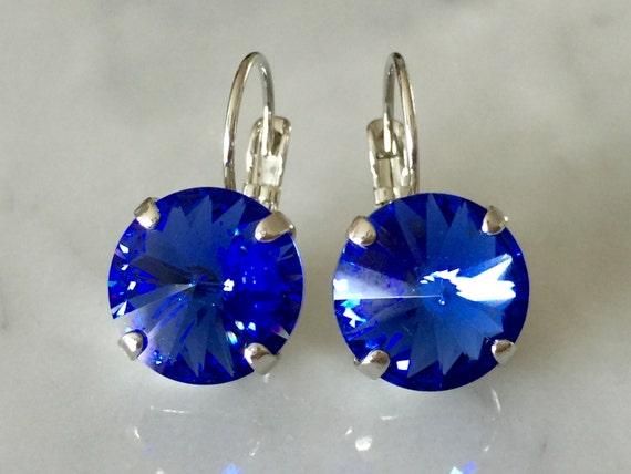 Sapphire Crystal Earrings, Swarovski Sapphire Earrings,  Swarovski Blue Crystal Earrings, Bridesmaid Earrings