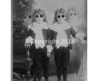 Creepy Twins Boys Little Lords Photo Victorian Vintage Altered Art Halloween Creepy Children Instant Download Ephemera Scrapbook Card Art