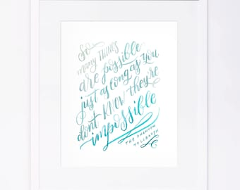 Phantom Tollbooth - So Many Things Are Possible - Watercolor Brushed Calligraphy Print