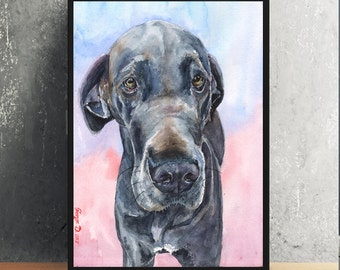 Great Dane Print of the Original Watercolor Painting art cute Art Dog painting Decor Animal
