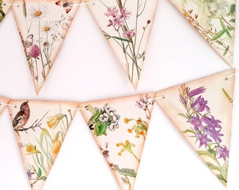 Wedding Blossom and Flower Bunting -Spring Floral Bunting- Wedding Bunting-  Floral Garland-Wedding Decor- Upcycled Wedding Garland