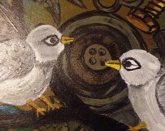 Steampunk style birds Acrylic painting