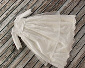 christening gown with long sleeve - cotton batiste with beautiful end soft lace - long christenin dress