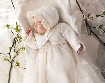 bolero for baptism-christening- made of cotton in white or ivory