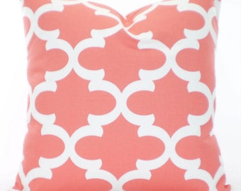 Coral Throw Pillow Covers, Cushion Cover, Decorative Throw Pillow, Coral Moroccan Tile Couch Couch Sofa Bed Pillows One or More All Sizes