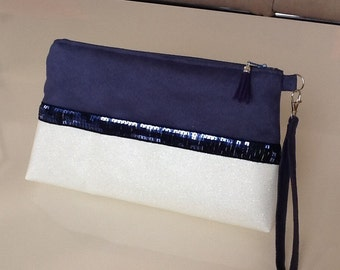 Small handbag with removable strap in navy blue suedette, Swarovski leatherette and navy blue spangles