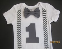 Baby boy first birthday outfit, Boy's grey chevron suspender shirt, Boy first birthday shirt, boy 1st birthday shirt, red bow tie outfit