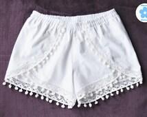 Bridal Pom Pom Shorts - Cute White Lace Beach Tropical Destination Wedding 100% Cotton Lacey Women Girls Bride Bridesmaid Gift Prep Party