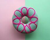 Pink Ponk donut crochet cushion