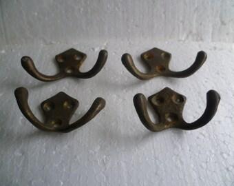 Set of 4 Bronze Hangers, Vintage  Wall Hooks Metal Hooks,
