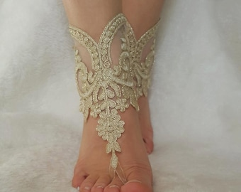 cappuccino gold frame beach wedding sandals steampunk foot accessory anklet country wedding barefeet bellydance free ship  bridesmaid gift