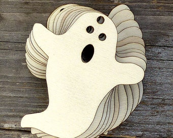 10 x Wooden Ghost Comic Craft Shape. Great Halloween Decoration