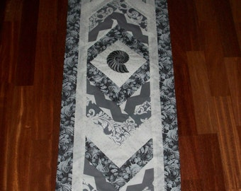 Seashells Gray Scale Quilted (no batting) Table Runner