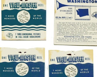 1954 View-master reels (3), Washington, the Evergreen State. 3 reels. No jacket/envelope